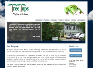 Treetops Lodge Cairns website by Kaimanui